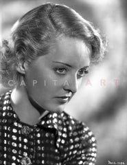 Bette Davis Portrait in Black High Neck Long Sleeve Shirt and Black Gem Necklace with Middle Parted Marcel Waves Premium Art Print