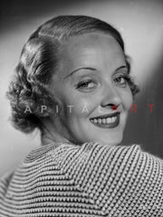 Bette Davis Portrait Looking Down in Floral Shirt and Middle Parted Marcel Wave Premium Art Print