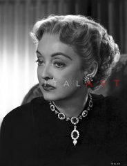 Bette Davis Portrait in White Silk Collar Black Long Sleeve and Ribbon with Marcel Wave Curls Premium Art Print