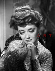 Bette Davis Portrait Highlighted Face in Black Halter Dress with Short Curls on Floral Background Premium Art Print