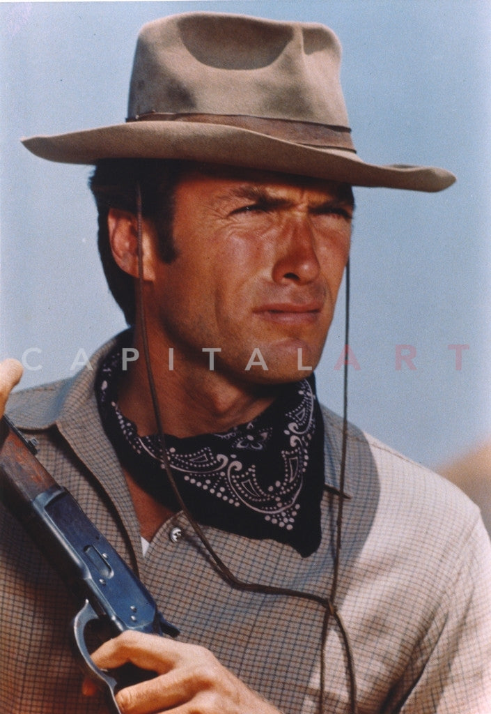 Clint Eastwood Movie Scene In Cowboy Hat With Black Scarf