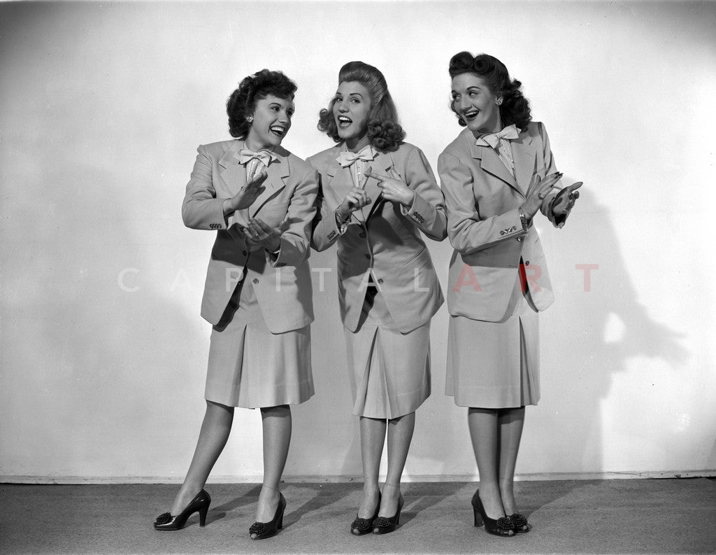 Andrew Sisters standing and Clapping in a Group Picture in Classic Premium Art Print