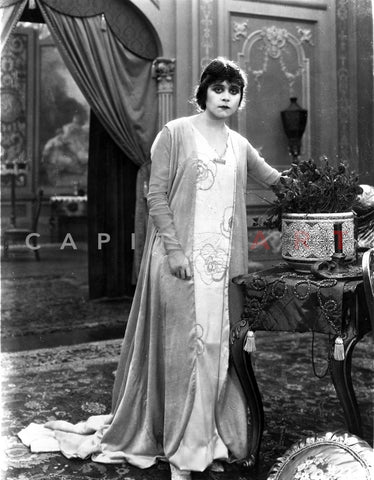 Theda Bara on Printed Dress Premium Art Print
