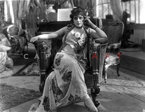 Theda Bara on Printed Dress and sitting Premium Art Print