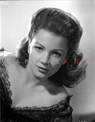 Anne Baxter on smiling and posed Premium Art Print