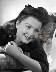 Anne Baxter on a Dress Leaning and posed Premium Art Print