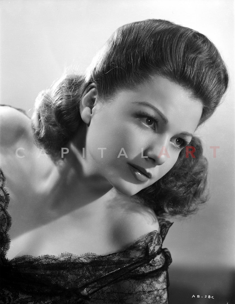 Anne Baxter on a Lace Top Leaning and posed Premium Art Print