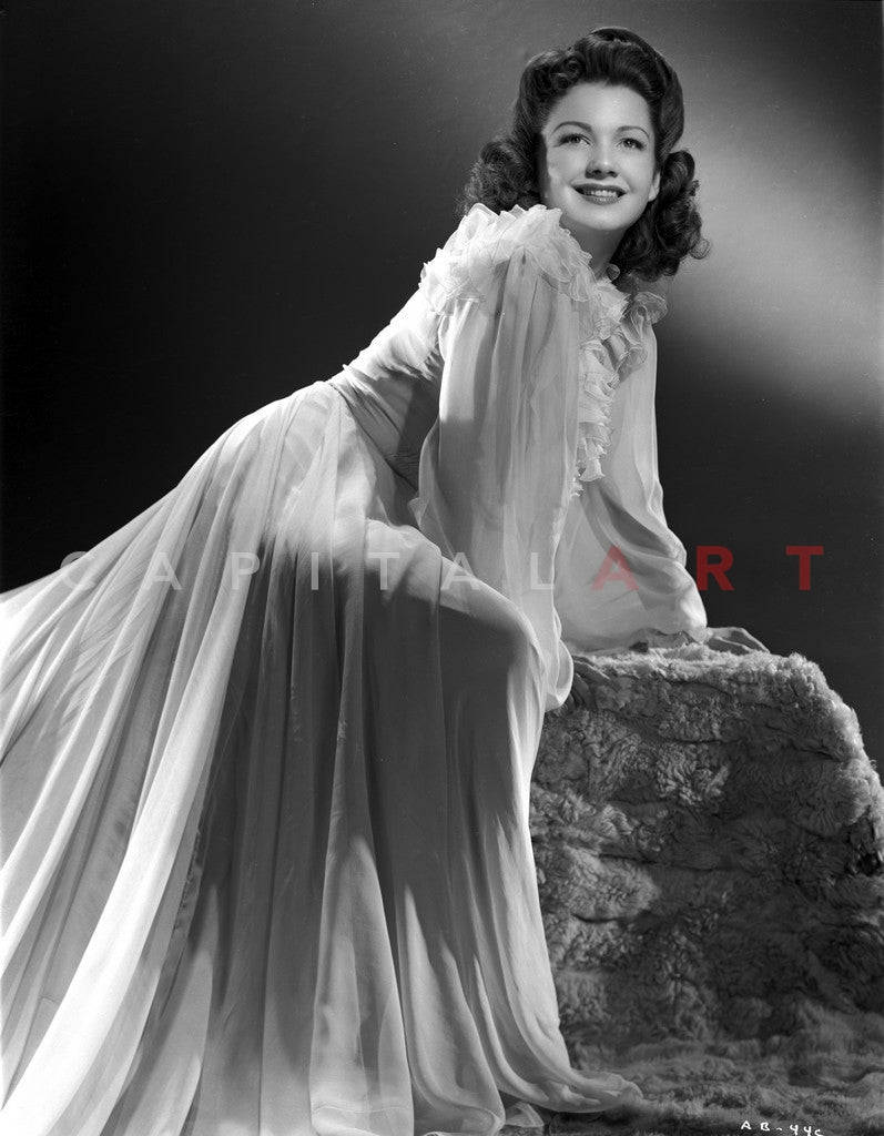 Anne Baxter On A See Through Dress Leaning Forward And