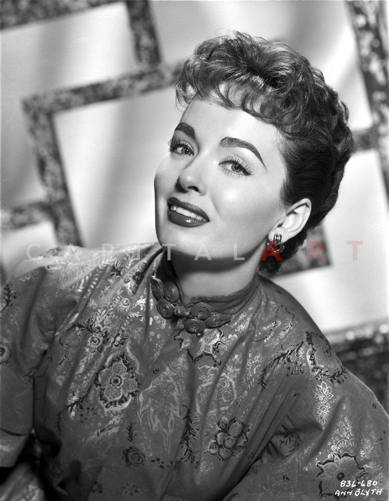 Ann Blyth on a Printed Silk Dress Premium Art Print