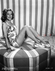 Barbara Britton posed in Floral Swimwear Premium Art Print