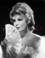 Arlene Dahl Covering Her Mouth with A Fan Premium Art Print