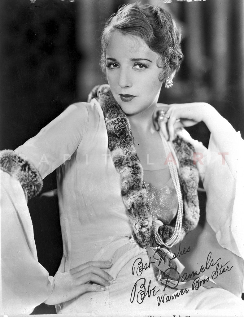 Bebe Daniels Posed Hand on the Waist in Black Pelt Boa and White Long Sleeve Dress Premium Art Print