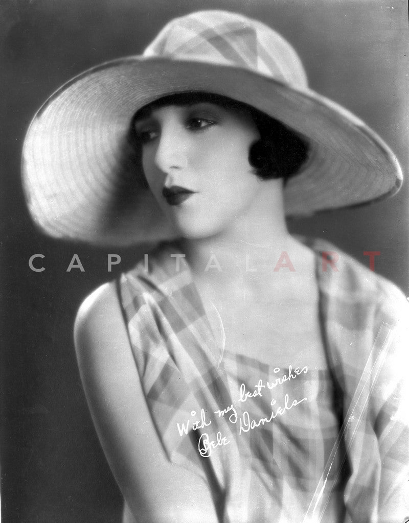 Bebe Daniels Portrait in White Brim Hat and Checkered Sleeveless Blouse Premium Art Print