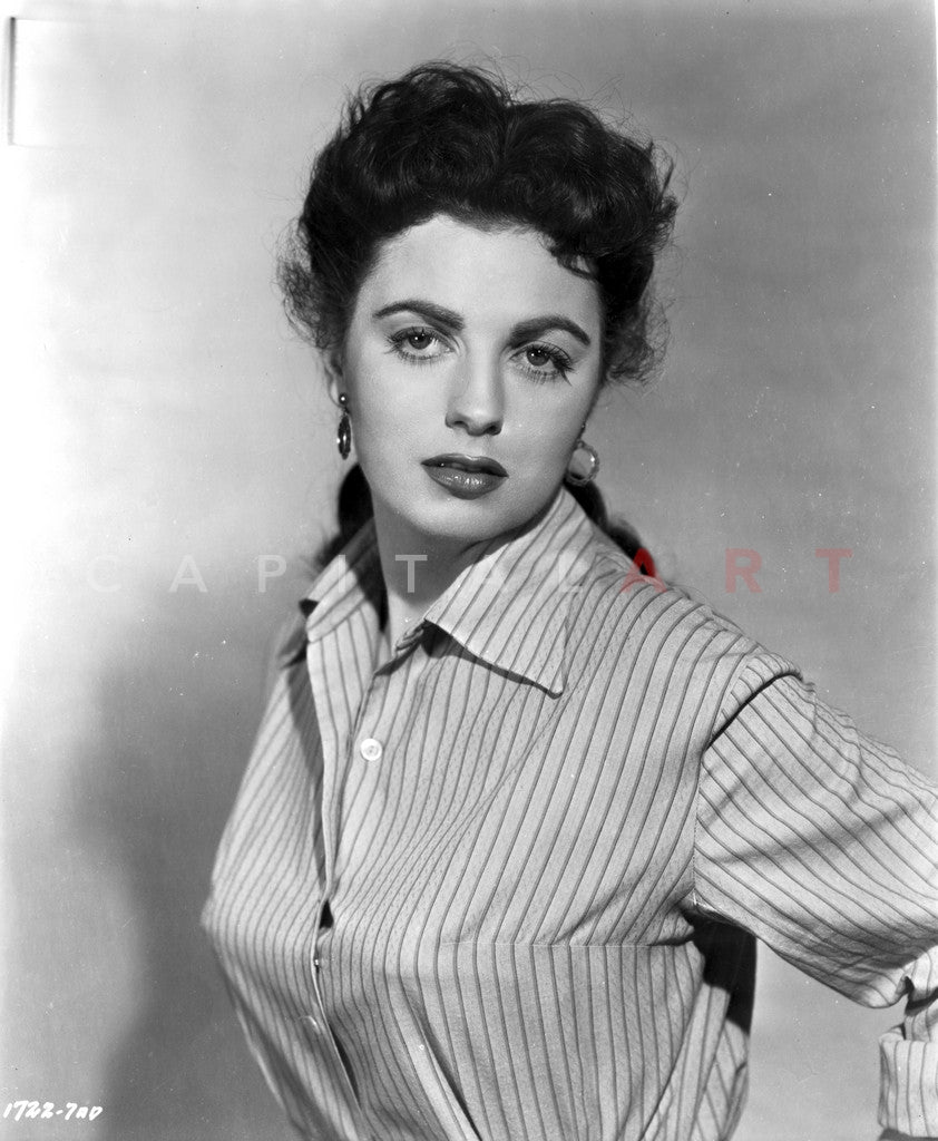 Faith domergue posed in striped shirt in black and white portrait premium art print