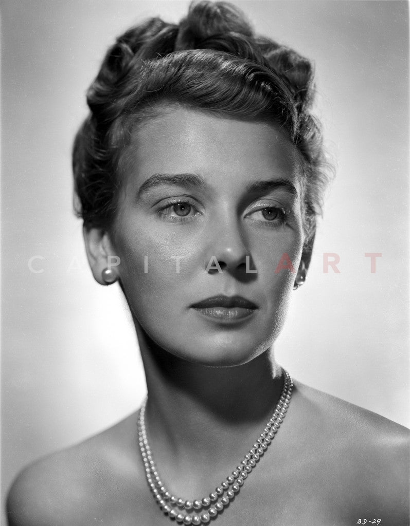 Betsy Drake Portrait in Pompadour Hairstyle and Pearl Necklace Premium Art Print