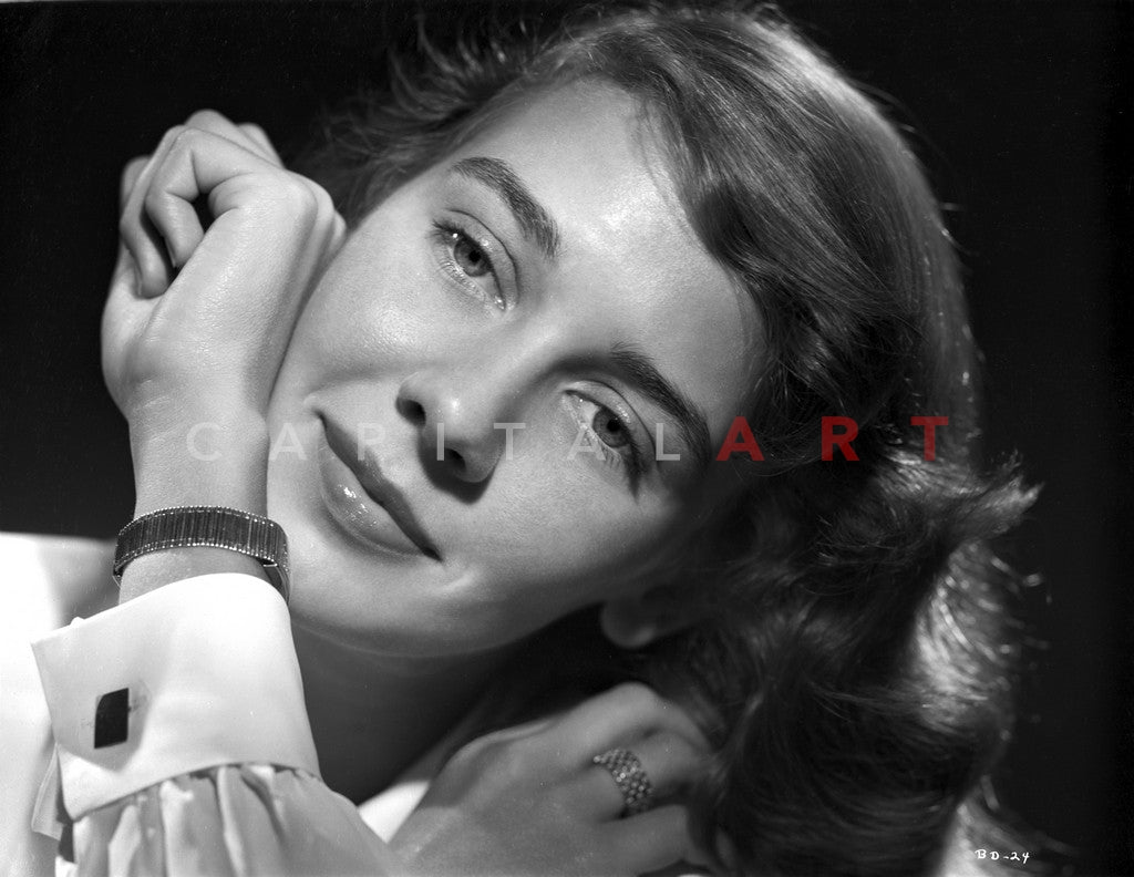 Betsy Drake Portrait in White Collar Shirt with Hand Rubbing on the Face Premium Art Print