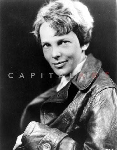 Amelia Earhart on Top Leather Jacket Premium Art Print