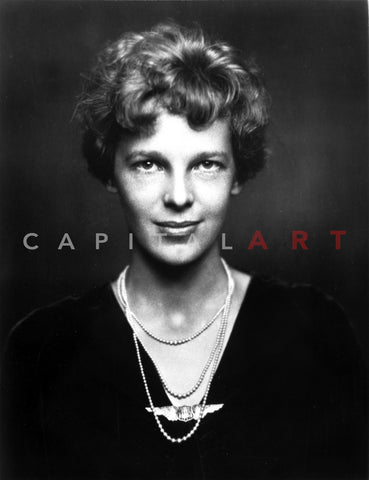 Amelia Earhart on Top Dark with Necklace Portrait Premium Art Print