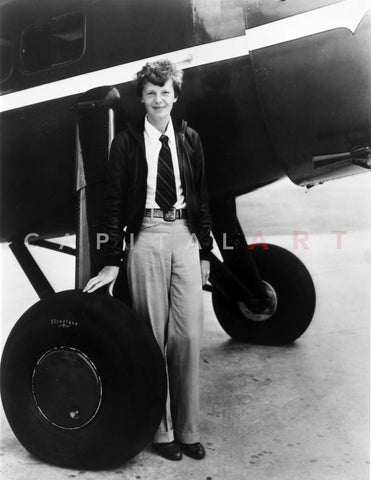 Amelia Earhart on Jet Tires Portrait Premium Art Print