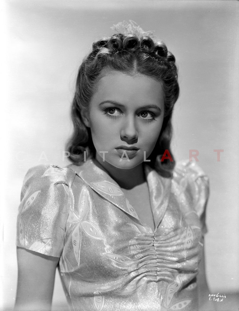 Ann Gillis Making a Lonely Face wearing a Glossy Blouse in Portrait Premium Art Print