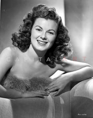 Barbara Hale on a Dark Dress sitting Premium Art Print