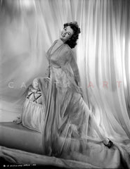 Barbara Hale Lying on a Couch with Tube Dress Premium Art Print