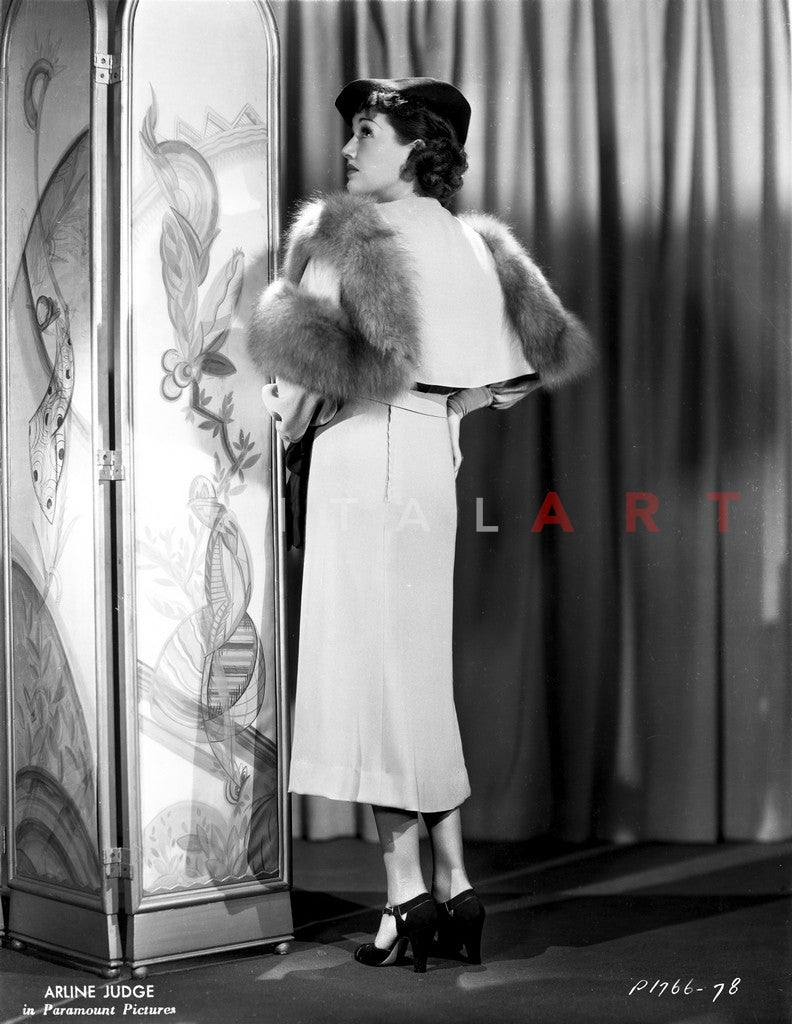 Arlene Judge posed in Back Side with A Fluffy Shawl Premium Art Print
