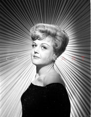 Angela Lansbury smiling and Looking Away wearing a Checkered Dress Premium Art Print