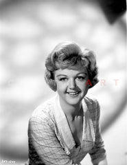 Angela Lansbury Looking Away wearing a Checkered Dress Holding a Hat Premium Art Print