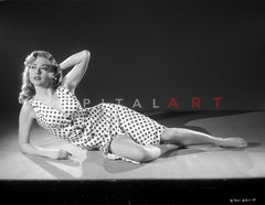 Adele Mara on a Tube Dress standing and posed Premium Art Print