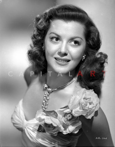 Ann Rutherford wearing a Dress with Flower on the Shoulder Premium Art Print