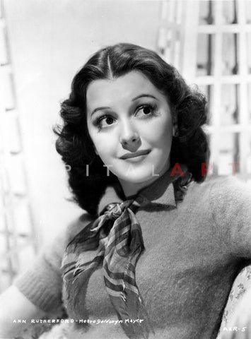 Ann Rutherford wearing a Sweat Shirt with a Scarf Premium Art Print