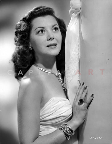 Ann Rutherford Leaning on the Wall wearing a Strapless White Dress Premium Art Print