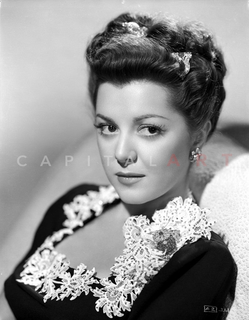 Ann Rutherford Facing at the Camera, wearing a Black Blouse Premium Art Print