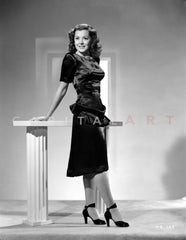 Ann Rutherford Leaning on the Wall wearing a Dress Premium Art Print