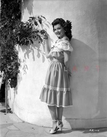 Ann Rutherford Leaning on the Wall while Facing to the Camera Premium Art Print