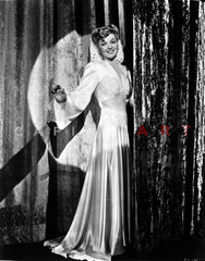 Ann Sheridan wearing a Gown with a Big Hat Premium Art Print