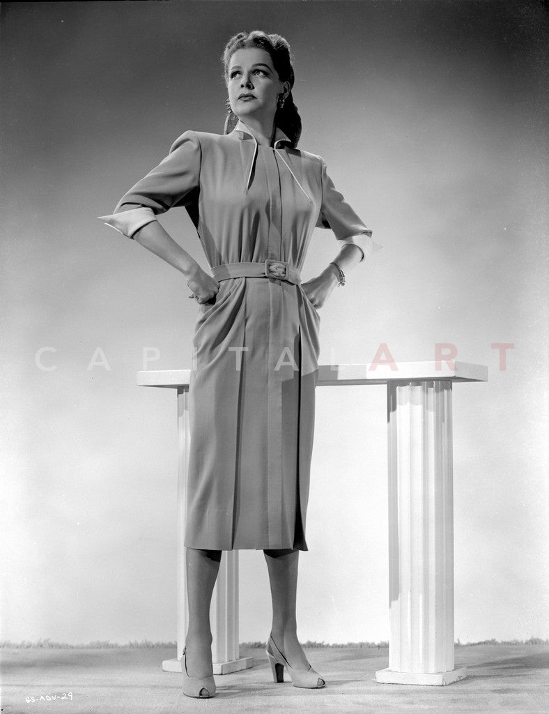 Ann Sheridan wearing a Shirtwaist Dress Premium Art Print
