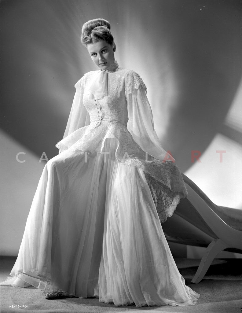 Ann Sheridan wearing a Closed White Gown Premium Art Print