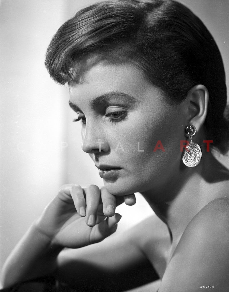 Jean Simmons Close Up Portrait in Shoulder Dress and Coin Earrings with  Chin Leaning on the Right Hand Premium Art Print