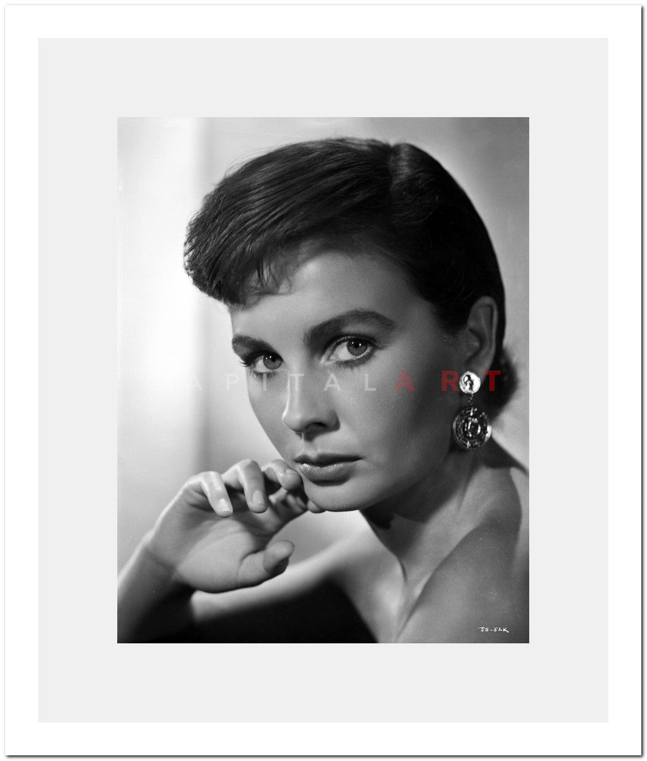 Jean Simmons Portrait in Black Off Shoulder Dress and Coin Earrings with  Right Hand on the Chin Premium Art Print