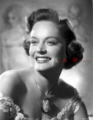 Alexis Smith standing wearing a Silk Robe Premium Art Print