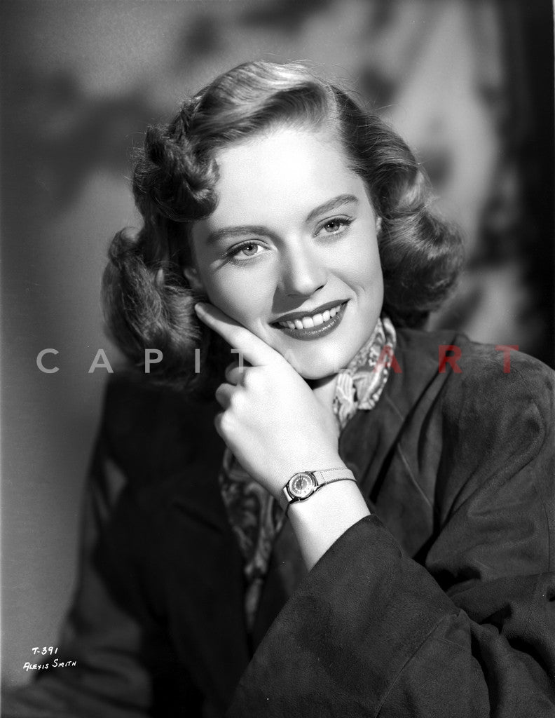 Alexis Smith smiling in Portrait with Wrist Watch Premium Art Print