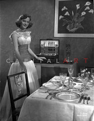 Alexis Smith Eyes Closed in Classic Portrait wearing a Wrist Watch Premium Art Print