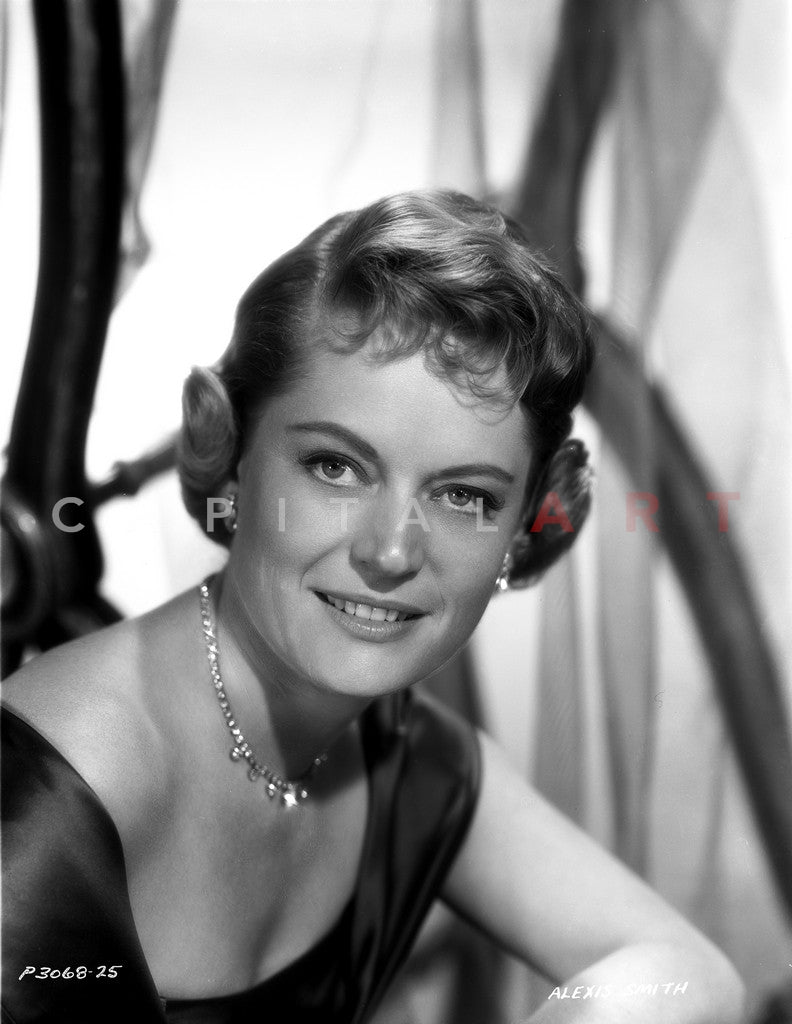 Alexis Smith Looking at the Camera wearing a Necklace Premium Art Print