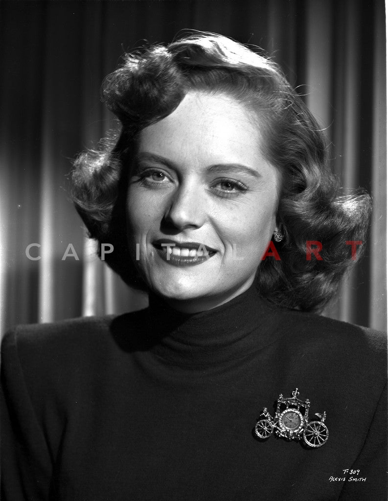 Alexis Smith smiling in Portrait wearing a Black Shirt Premium Art Print