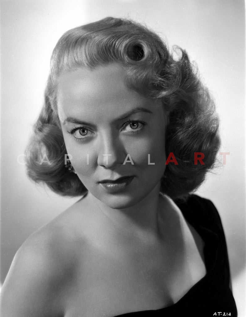 Audrey Totter with Black Top in Black and White Portrait Premium Art Print
