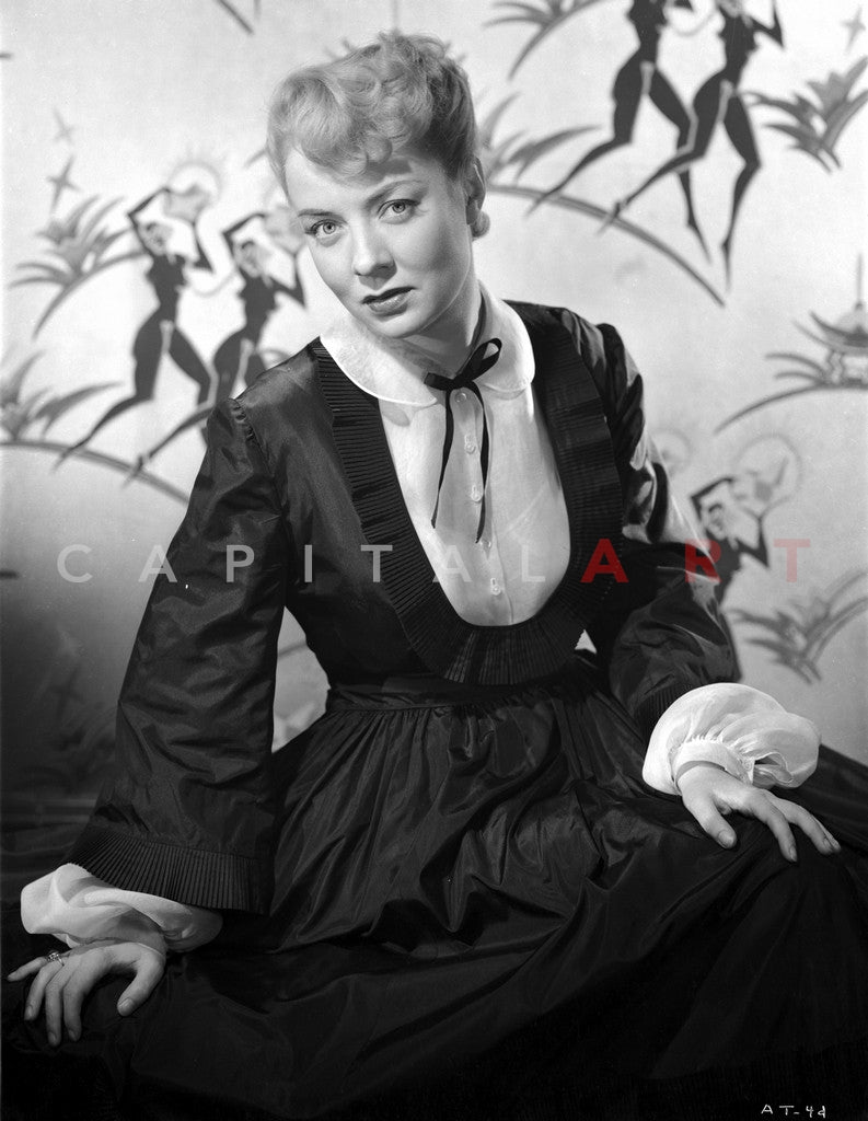 Audrey Totter Pose in Black Long Fluffy Dress Premium Art Print