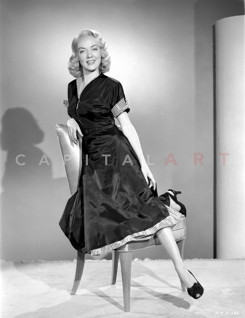Audrey Totter posed on Chair with Black Dress Premium Art Print