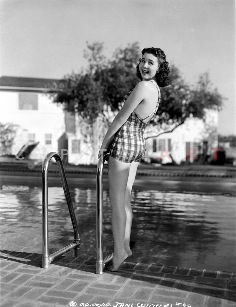 Jane Withers Posed In Gingham One Piece Swimsuit And